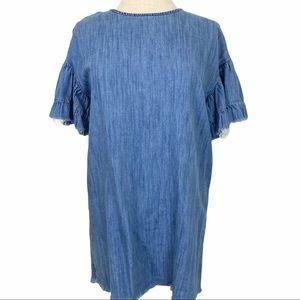 ZARA TRAFALUC Denim Dress Raw Hem & Bell Sleeves